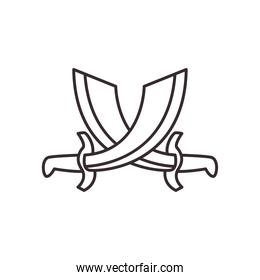 turkish swords line style icon vector design