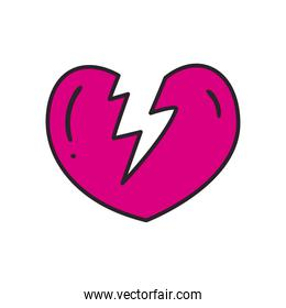 broken heart line and fill style icon vector design