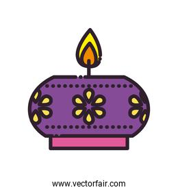 diwali candle with flowers line and fill style icon vector design
