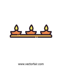 diwali lamp with three candles line and fill style icon vector design