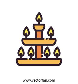 diwali lamp with candles line and fill style icon vector design