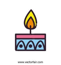 diwali candle line and fill style icon vector design