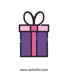 Gift with bowtie line and fill style icon vector design