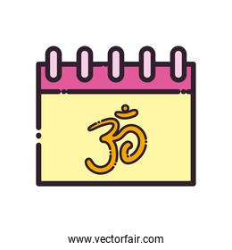 Hinduism om inside calendar line and fill style icon vector design