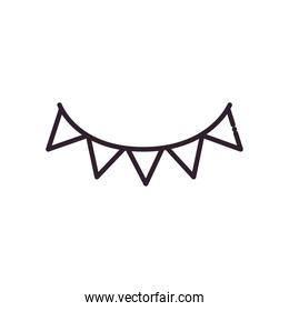 Party banner pennant line style icon vector design