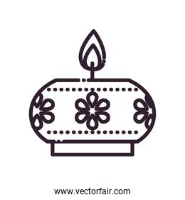 diwali candle with flowers line style icon vector design