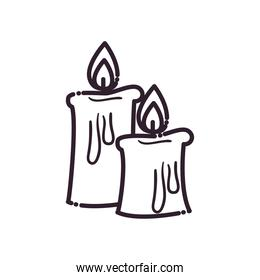 Candles line style icon vector design