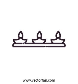 diwali lamp with three candles line style icon vector design