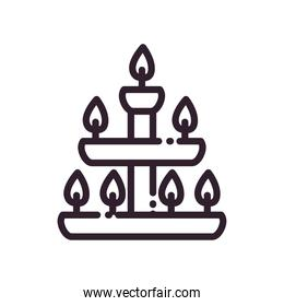 diwali lamp with candles line style icon vector design