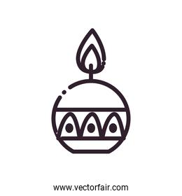 diwali candle in sphere shaped line style icon vector design
