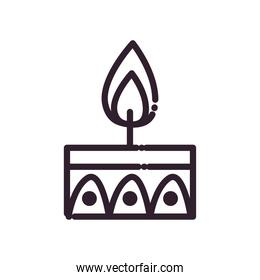 diwali candle line style icon vector design