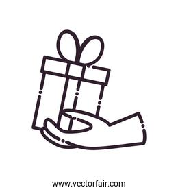 Gift with bowtie on hand line style icon vector illustration