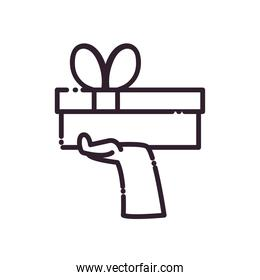 Gift with bowtie on hand line style icon vector design