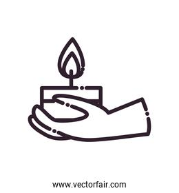 diwali candle on hand line style icon vector design