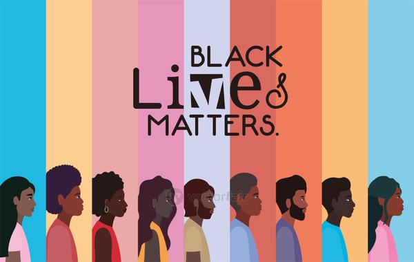 Black women and men cartoons in side view with black lives matters text vector design