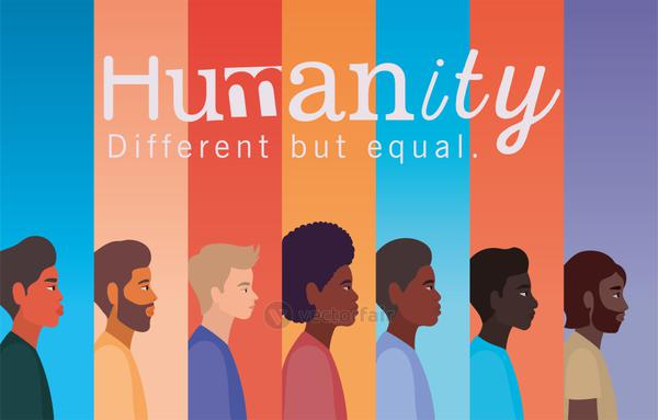humanity men cartoons on multicolored background vector design