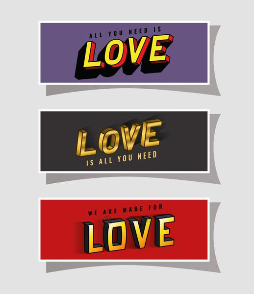 3d love lettering set on gray purple and red backgrounds vector design