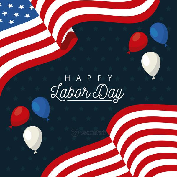 happy labor day celebration with usa flag and balloons helium