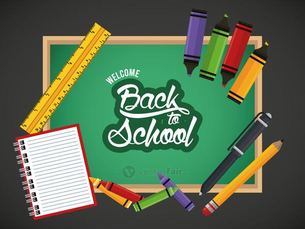 back to school poster with notebook and supplies in chalkboard