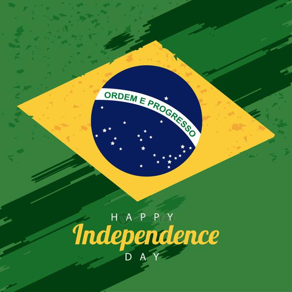 brazil happy independece day celebration with flag and lettering