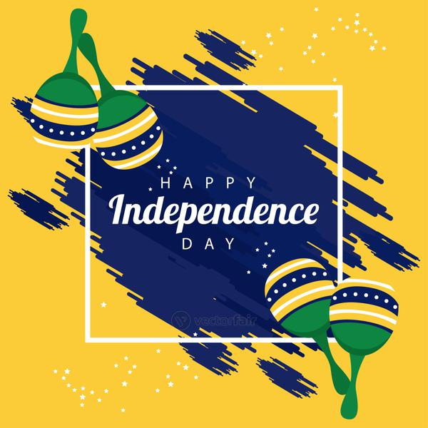 brazil happy independece day celebration with flag and maracas square frame