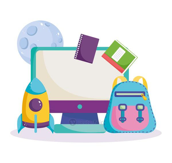 back to school, computer online backpack books rocket planet science elementary education cartoon