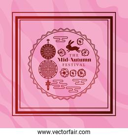 Mid autumn festival with rabbit fortune hanger and seal in frame on pink background vector design