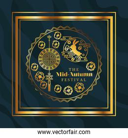 Mid autumn festival with rabbit hanger and seal in gold frame on blue background vector design