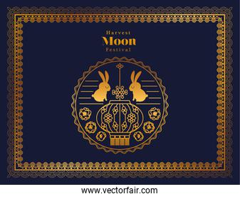 harvest moon festival with rabbits and seal in gold frame on blue background vector design