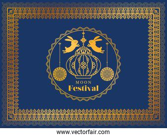 moon festival with rabbits lantern and seal in gold frame on blue background vector design