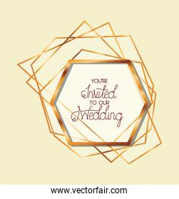 you are invited to our wedding text in gold frame of Wedding invitation vector design