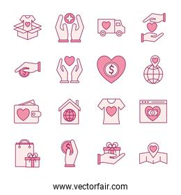 Charity line and fill style icons collection vector design