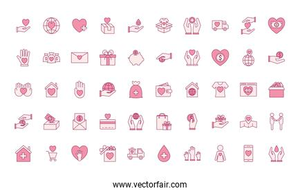 Charity line and fill style 50 icon set vector design