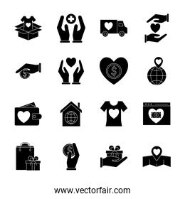 Charity silhouette style icons collection vector design