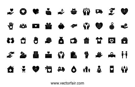 Charity silhouette style 50 icon set vector design