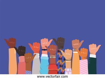 diversity of hands up with thumb up vector design