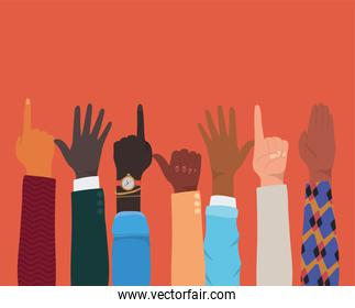 diversity of hands up doing signs vector design