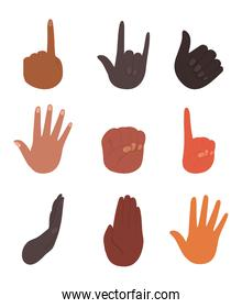 diversity of isolated hands vector design