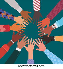 diversity of hands touching each other in circle vector design