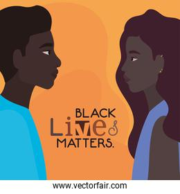 Black woman and man cartoons in side view with black lives matters text vector design
