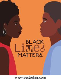 Black afro woman and man cartoons in side view with black lives matters text vector design