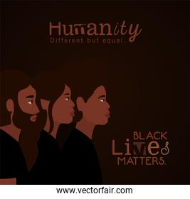 Black woman and men cartoons in side view with black lives matters text vector design