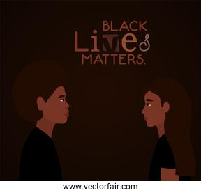 Black woman and afro man cartoons in side view with black lives matters text vector design