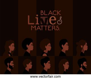 women and men cartoons in side view with black lives matters text vector design
