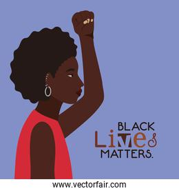 Black afro woman cartoon with fist up in side view with black lives matters text vector design