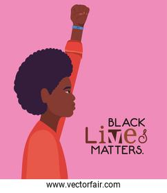 Black afro man cartoon with fist up in side view with black lives matters text vector design