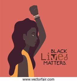 Black woman cartoon with fist up in side view with black lives matters text vector design