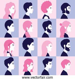 diversity women and men cartoons silhouettes in side view in frames background vector design