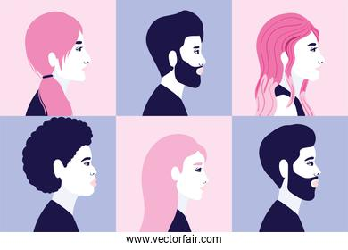 diversity 6 women and men cartoons silhouettes in side view in frames background vector design