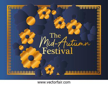 Mid autumn festival with gold blue flowers and frame vector design